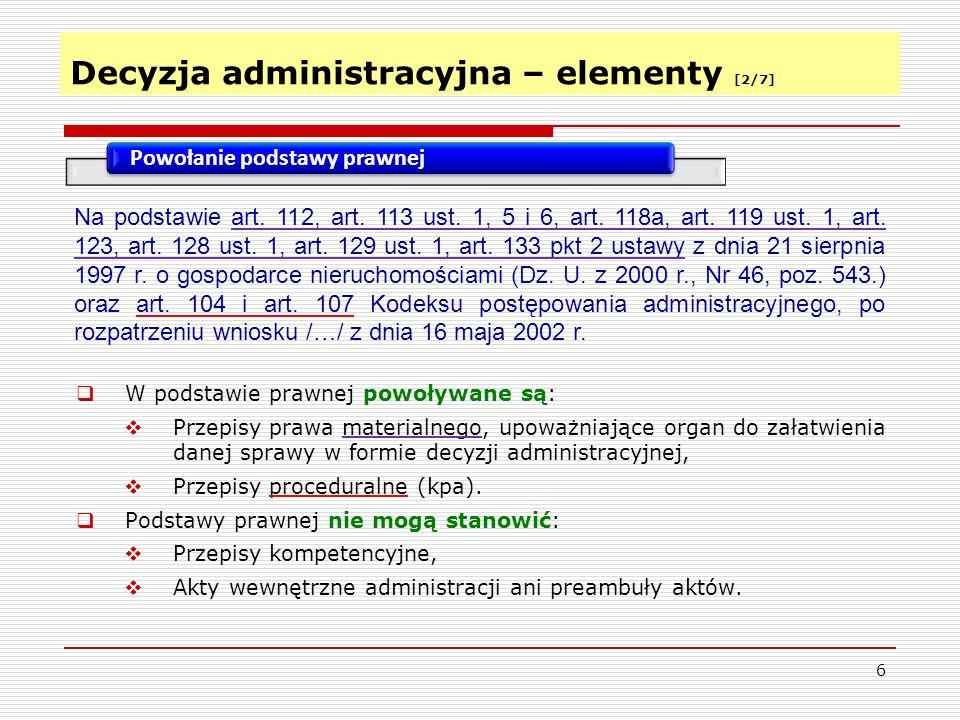 Decyzja administracyjna – elementy [2/7]